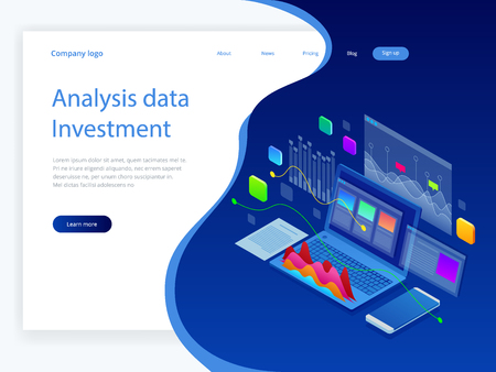 Isometric Analysis data and Investment. Stack of documents with an official stamp and pencils in a glass. A method for working in the office. Bureaucracy concept. Flat style vector illustration