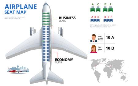 항공기 승객의 차트 비행기 좌석, 계획. 항공기 좌석 평면도 평면도. 비즈니스 및 이코노미 클래스 비행기 실내 정보지도. 자외선 배경에 비행기의 벡터 일러스트 레이 션.