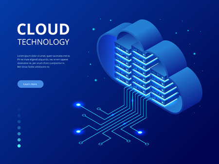 Isometric modern cloud technology and networking concept. Web cloud technology business. Internet data services vector illustration Banco de Imagens