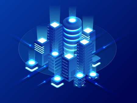 Isometric Web hosting, data backup copy, recover file concept, cloud data storage, digital technology, blockchain, server room. Internet traffic routing, server room rack vector technology