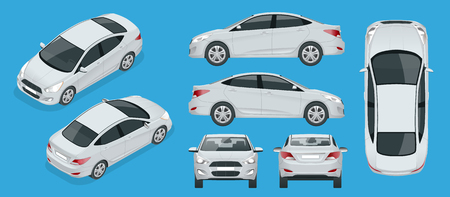 Set of Sedan Cars. Compact Hybrid Vehicle. Eco-friendly hi-tech auto. Isolated car, template for branding, advertising. Front, rear , side, top and isometry front and back Vettoriali