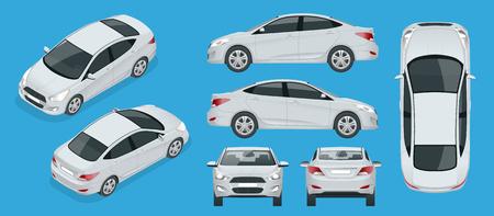 Set sedan-auto's. Compact hybride voertuig. Milieuvriendelijke hi-tech auto. Geïsoleerde auto, sjabloon voor branding, reclame. Voor-, achter-, zij-, boven- en isometrie voor en achter