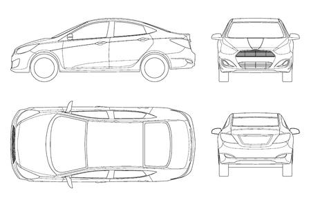 Satz Limousinenautos im Umriss. Kompaktes Hybridfahrzeug. Umweltfreundliches High-Tech-Auto. Isoliertes Auto, Vorlage für Branding und Werbung. Ansicht vorne, hinten, seitlich, oben. Vektorillustration