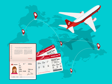 Travel and tourism background. Buying or booking online tickets. Travel, Business flights worldwide. Air travel world globe airline tickets. Flat isometric vector illustration.