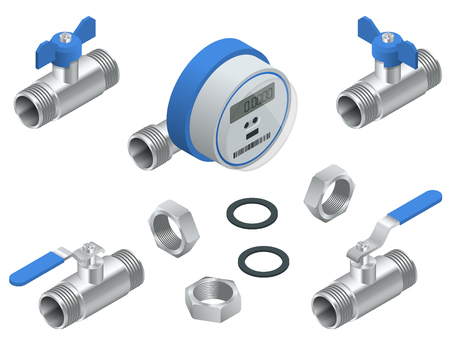 Isometric set of water meter for cold water with pipeline. Vector illustration Counters isolated on white background. Sanitary equipment.