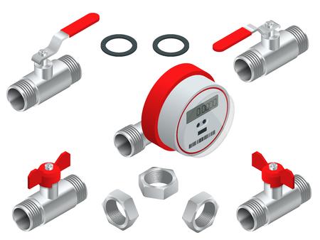 Conjunto isométrico de medidor de agua para agua caliente con tubería. Ilustración vectorial Contadores aislados sobre fondo blanco. Equipo sanitario.