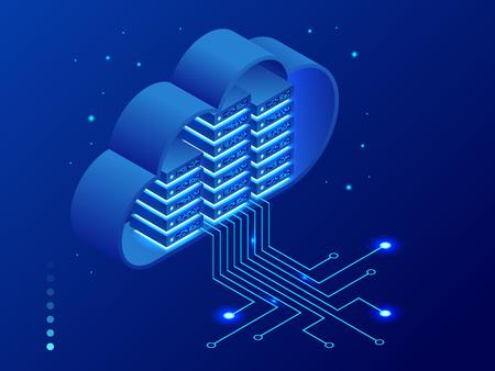 Concepto de redes y tecnología de nube moderna isométrica. Negocio de tecnología de nube web. Ilustración de vector de servicios de datos de Internet. Ilustración de vector