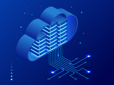 Isometric modern cloud technology and networking concept. Web cloud technology business. Internet data services vector illustration. Vettoriali
