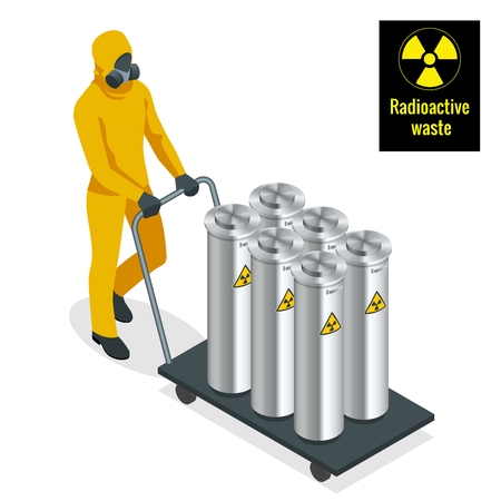 Worker in protective uniform, mask, gloves and boots working with barrels of chemicals on forklift. Isometric Radioactive waste vector elements.
