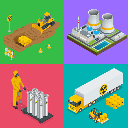 Isometric Radioactive waste elements. Vector hazard and radiation vector illustrations.