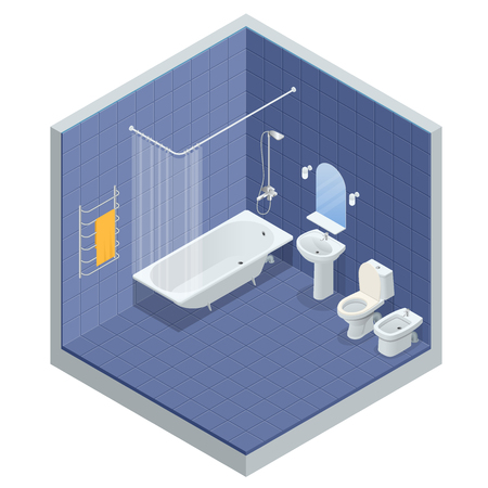 Isometric concept of Bathroom interior design with bath, shower mirror and towels, toilet, bidet, vector illustration