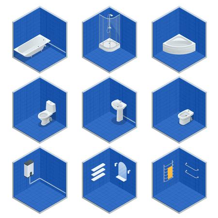 Vector isometric set of bathroom furniture. Jacuzzi, bath, boiler, washbasin, shower, shower, toilet, bidet, dryer, towel, mirror, shelves flat interior design home icons. Illustration