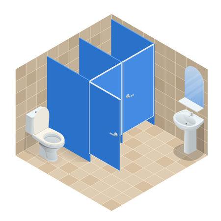 Isometric Row of white ceramic wash basin in public toilet, interior design. Vector illustration