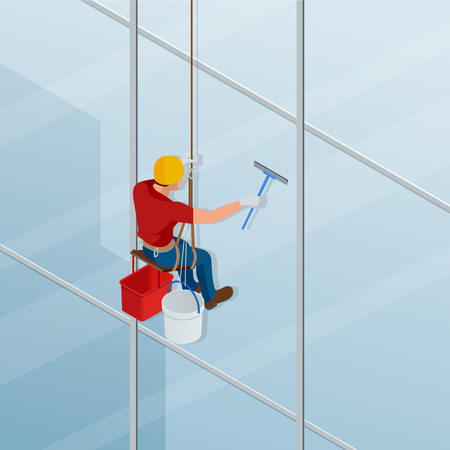 Washing and cleaning the window with a squeegee. Isometric male worker in overalls professional repair the windows in high-rise. Vector illustration