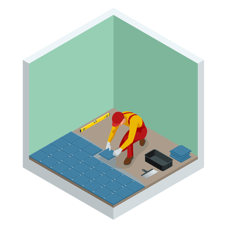 Laying tiles at home. Worker installing small ceramic tiles on bathroom floor and applying mortar with trowel. Isometric vector illustration