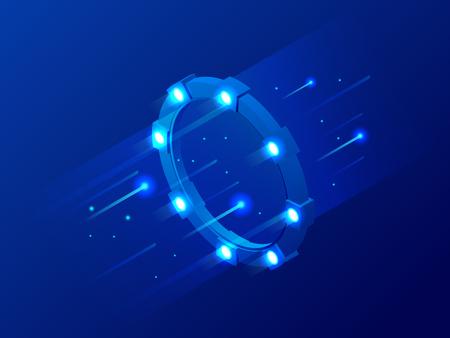 Isometric bright border, magic portal, luminous swirling, elegant glowing circle, space tunnel vector illustration  イラスト・ベクター素材