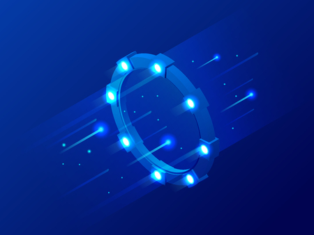 Isometric bright border, magic portal, luminous swirling, elegant glowing circle, space tunnel vector illustration Illustration