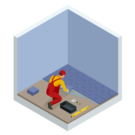 Laying tiles at home. Worker installing small ceramic tiles on bathroom floor and applying mortar with trowel. Isometric vector illustration. Stock Illustratie