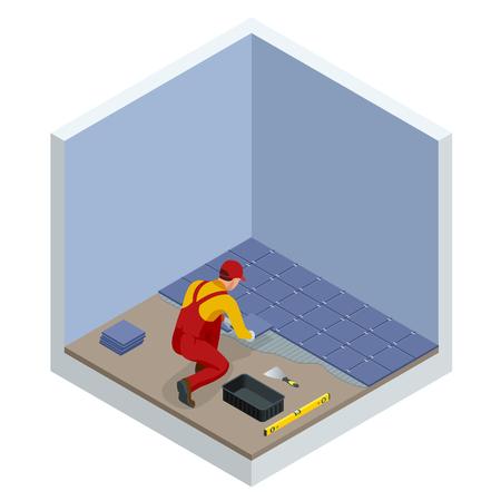 Thuis tegels leggen. Werknemer kleine keramische tegels installeren op badkamervloer en mortel met troffel toe te passen. Isometrische vectorillustratie. Stockfoto - 101850549