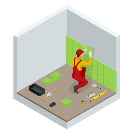 Laying tiles at home. Worker installing small ceramic tiles on bathroom walls and applying mortar with trowel. Isometric vector illustration.