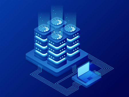 Isometric Database Network Management. Big Data processing, energy station of future. IT Technician Turning Server. Cloud service. Digital information. Vector illustration. Illusztráció