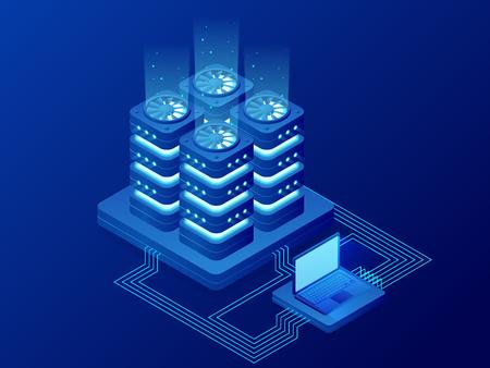 Isometric Database Network Management. Big Data processing, energy station of future. IT Technician Turning Server. Cloud service. Digital information. Vector illustration. Illustration