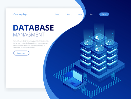 Isometric Database Network Management. Big Data processing, energy station of future. IT Technician Turning Server. Cloud service. Digital information. Vector illustration. Stock Illustratie