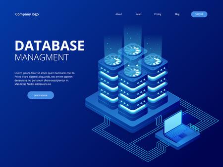 Isometric Database Network Management. Big Data processing, energy station of future. IT Technician Turning Server. Cloud service. Digital information. Vector illustration. Stock Illustratie