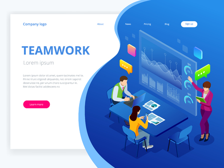 Isometric business analysis and planning, consulting, team work, project management, financial report and strategy concept. Unity and teamwork concept. Vector illustration. Ilustração