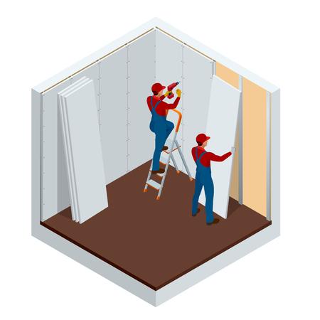 Uomo isometrico che installa l'illustrazione di vettore dei pannelli di gesso del muro a secco. Edilizia edilizia, nuova casa, interni di costruzione.