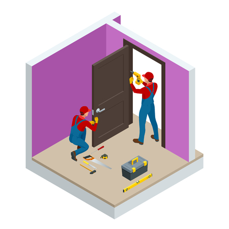 Isometric handymans installing a white door with an electric hand drill in a room. Construction building industry, new home, construction interior. Vector illustration
