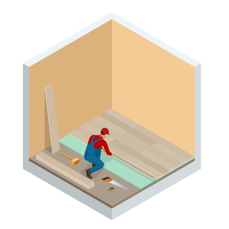 Isometric man installing new laminated wooden floor. Construction building industry, new home, construction interior. Vector illustration