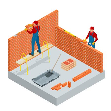 Operaio industriale isometrico costruzione di pareti esterne, utilizzando martello e livello per la posa di mattoni in cemento. Edilizia edilizia, nuova casa. Illustrazione di vettore dei lavoratori con strumenti.
