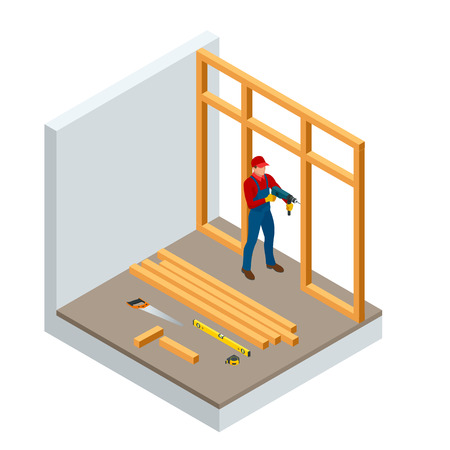 Isometric professional carpenters drilling wood. Construction building industry, new home, construction interior. Lumber, timber materials. Vector illustration Illustration