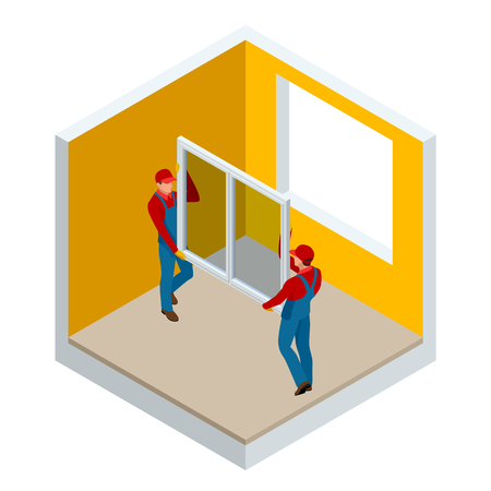 Isometric installation of windows in the house or apartment concept. Two workers in blue work clothes set a new window in the window frame. Construction building industry, new home
