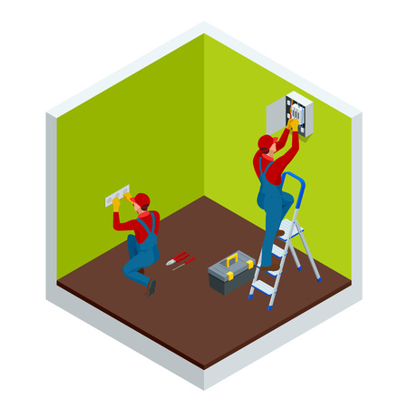 Isometric master electrician at work near the plate with a plurality of wires. Repairs in the house or apartment, wiring electricity. Construction building industry vector illustration Иллюстрация