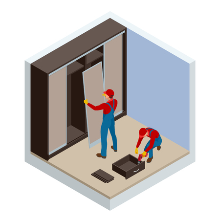 Isometric two carpenters workers joint and settle home built-in cupboard. Installation of white corner sliding wardrobe vector illustration Çizim