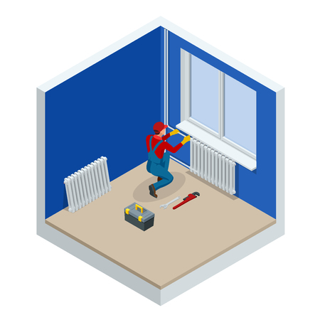 Isometric Professional plumber worker installing heating radiator in an empty room of a newly built apartment or house. Construction, maintenance and repair concept. Vector illustration
