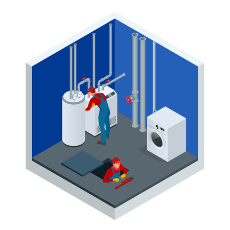 Isometric condensing boiler gas in the boiler room. Worker set up central gas heating boiler at home. Construction, maintenance and repair concept. Vector illustration