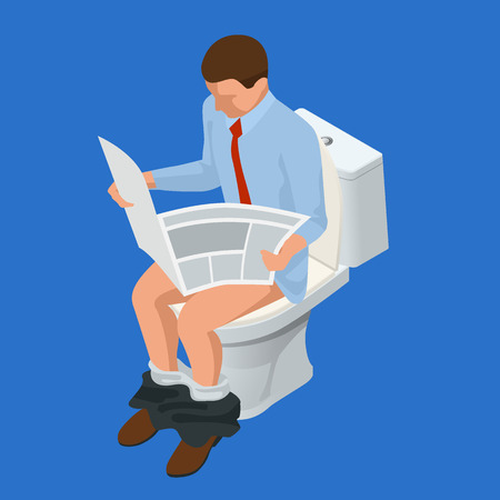 Isometric man reading a newspaper seated on a toilet isolated on blue background. Vector illustration
