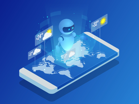 Isometric Artificial intelligence shows the weather in the world on smartphone. Artificial intelligence business concept. Vector illustration