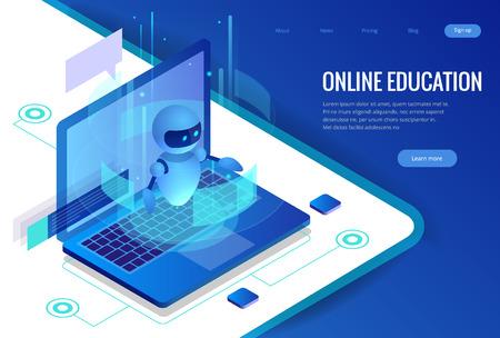 Concepto de bot de profesor de ciencia isométrica. Inteligencia artificial, conocimiento, experiencia, inteligencia, aprender. Tecnología e ingeniería. Banner de formación online.