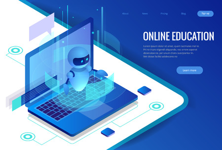 Isometric Science teacher bot concept. Artificial Intelligence, Knowledge Expertise Intelligence Learn. Technology and engineering. Online training banner.