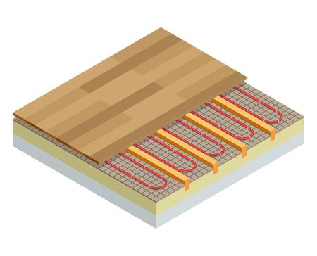 Isometric layers of infrared floor heating system under laminate floor concept. Underfloor heating vector illustration.