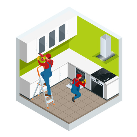 Isometric assembly of kitchen of furniture in the studio apartment concept. Repairman in overalls repairing cabinet hinge in kitchen vector illustration. Stock Illustratie