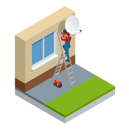 Isometric male technician in uniform installing TV Satellite dish on wall. Adjustment of a satellite plate. Vector illustration