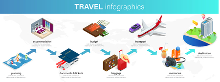 Isometric infographics concept of plan your vacation, travel for your business, websites, presentations, advertising etc. Plan your travel infographic guide. Vacation booking concept.