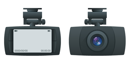 Car DVR Portable Mobile DVR Video Camera Camcorder with LCD Screen installed on the windscreen isolated on white background  イラスト・ベクター素材