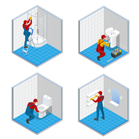 Isometric plumber or worker with tool belt standing in bathroom set concepts. Bath room repair isometric composition.