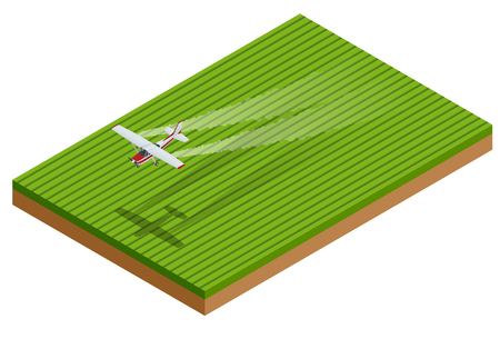 Isometric A spray plane or crop duster applies chemicals to a field of crops.
